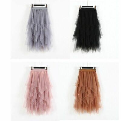 Damen High Waist Ruffle Mesh Tutu Rock schiere Net Tüll Plissee Maxi Kleid ()