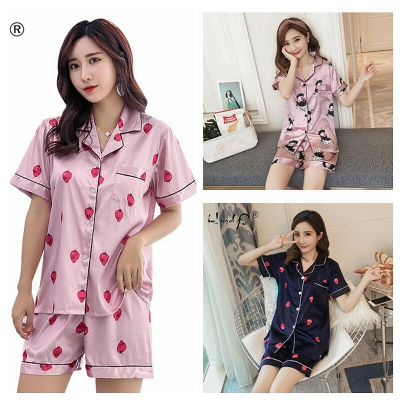 Women Summer Cartoon Floral Cute Sleepwear Home Shirt Pants Pajamas Set Satin
