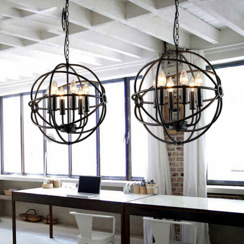 6 Lights Metal Hanging Fixture Industrial Vintage Lighting