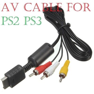 Audio Video AV Cable for Sony Playstation PS2 PS3 Console Lead Wire 1.5m Black