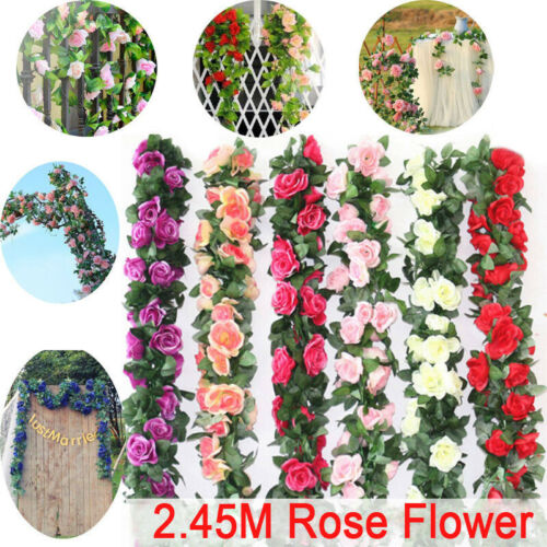 2.4m 8ft DIY Plastic Silk Rose Flower Ivy Vine Garland Party Wedding Home Decor