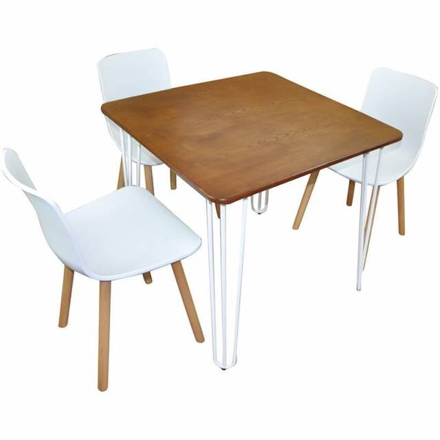 Hairpin leg cafe dining tables solid chestnut wood top