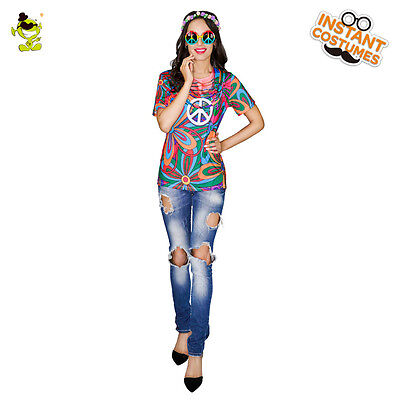 New Adult's Women's 60's 70's Hippie T-shirt Costume For Party Halloween With 3D - Hippie Halloween Costumes For Adults