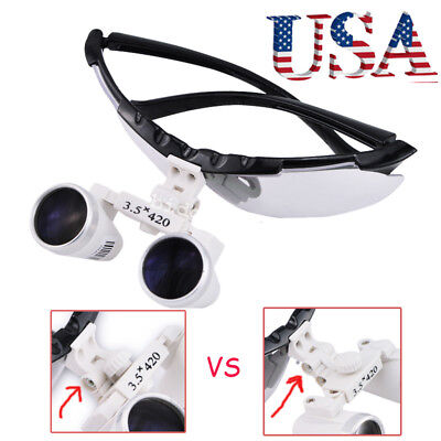 Usa Dental Surgical Loupes Binocular Loupe Glasses Lens Magnifier 3.5x 420mm Ce