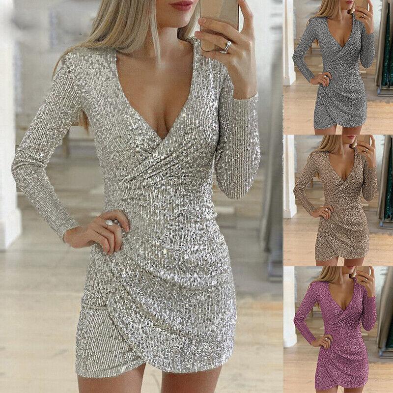 Damen Pailletten Glitzer Minikleid Sexy Partykleid Clubwear Langarm Abendkleider