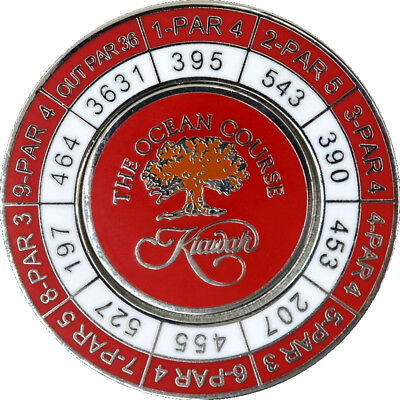 KIAWAH ISLAND Logo - Red - YARDAGE COIN with REMOVABLE GOLF BALL MARKER