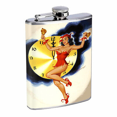 Vintage New Years Eve D12 Flask 8oz Stainless Steel Hip Drinking Whiskey  - New Years Eve Drinks