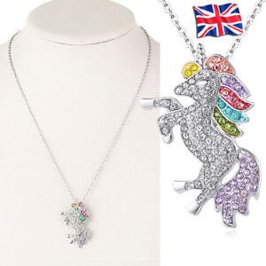 Unicorn pendant necklace chain multi kids girls costume party Christmas gift UK