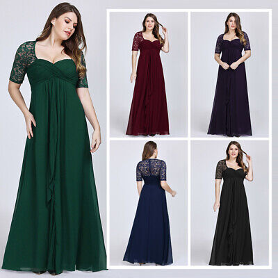 Bride Formal Evening Dress - Ever-pretty US Plus Size Half Sleeve Evening Gowns Mother Of Bride Formal Dress