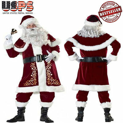 M-3XL Adult Deluxe Velour Christmas Santa Claus Suit Fancy Xmas Party Costume US