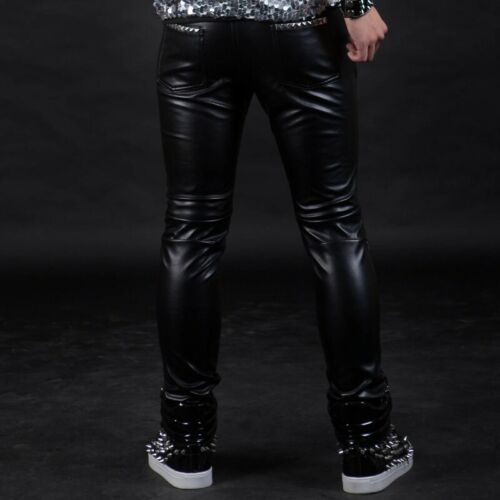 Extreme Leather 100/% Sheep Leather Mens Trousers Black with White Piping Pant