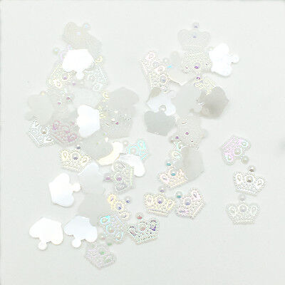 New 100pcs Resin Crown 12mm Flatback Scrapbooking For DIY Phone Craft White AB 3