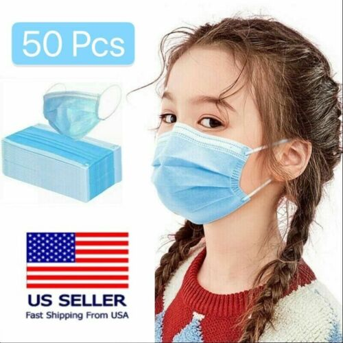 [kids] 50 Pc Disposable Face Mask 3-ply Non-medical Earloop Mouth Cover - Blue