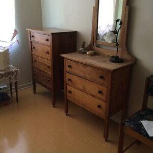 ANTIQUE BEDROOM BUREAU'S HERS & HIS WITH MIROR