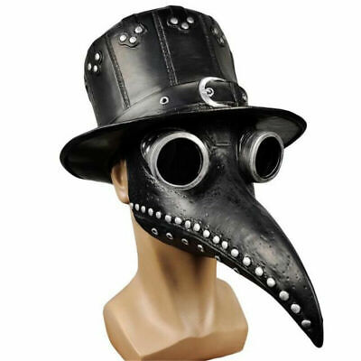 Steampunk Gothic Vintage Plague Doctor Bird Latex Hat & Mask for Costume Props