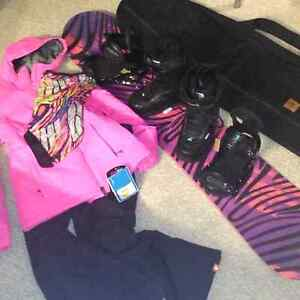Snowboard, boots and bindings and bag