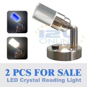2 Led 12volt Crystal Swivel Wall Reading Light Rv Camper Trailer Bedside Lamp Cw