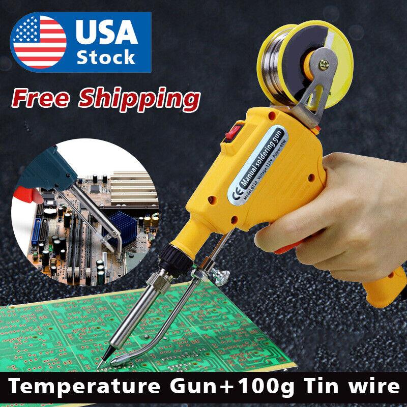 110V 60W Auto Welding Electric Soldering Iron Temperature Gun Solder Tool Kits Home & Garden
