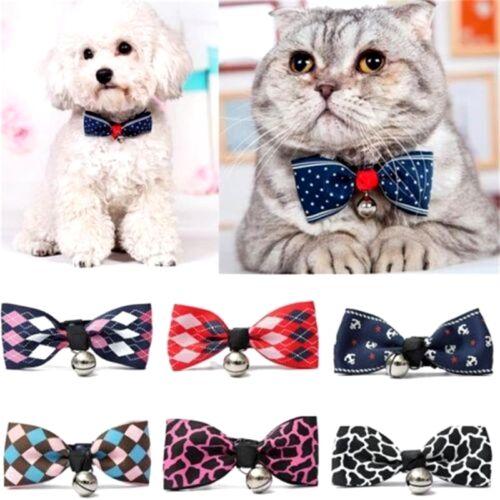 Hottest Dog Cat Pet Bow Tie With Bell Puppy Kitten Collar Adjustable Necktie X1