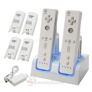 For Nintendo Wii Remote Controller DUAL Charging Station+4 Battery Pack White