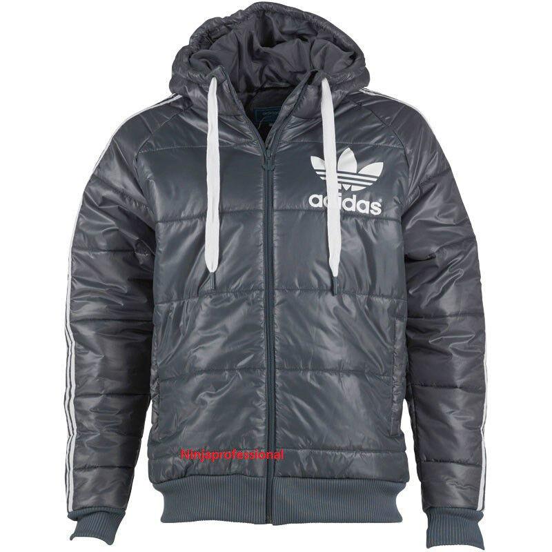 Mens White Bomber Jacket Mens Adidas 100% Genuine Originals Grey/White Hooded ...