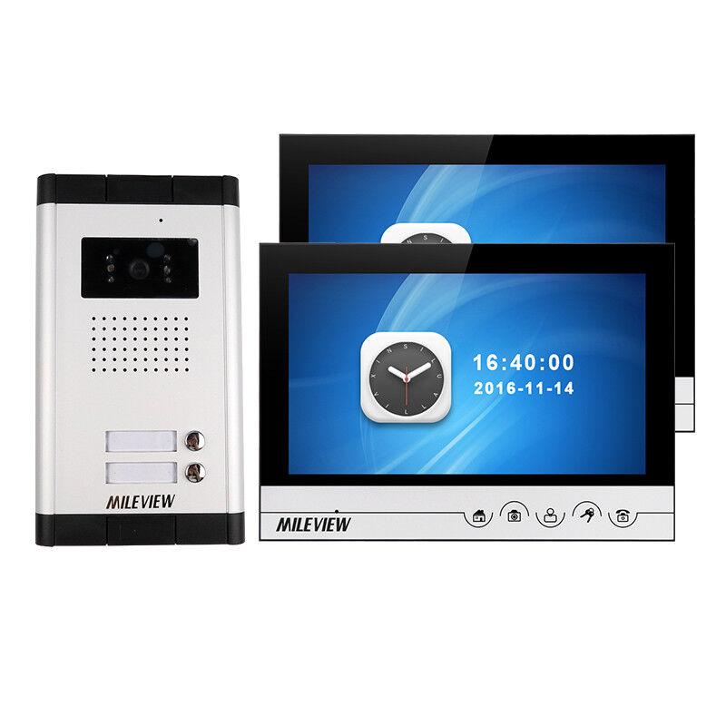 "9"" Video Door Phone Intercom System 2 Recording Screen IR Camera for 2 Apartment"