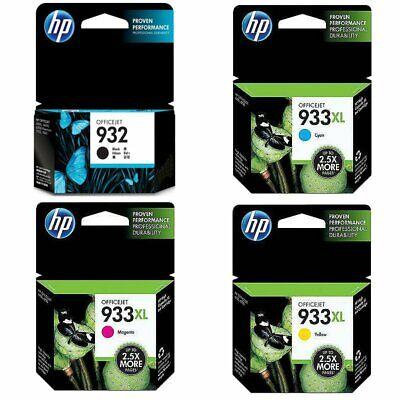 4-Pack HP Genuine 932 Black 933XL Color Ink (No Retail Box) OfficeJet 6100 6600 Hewlett Packard Box