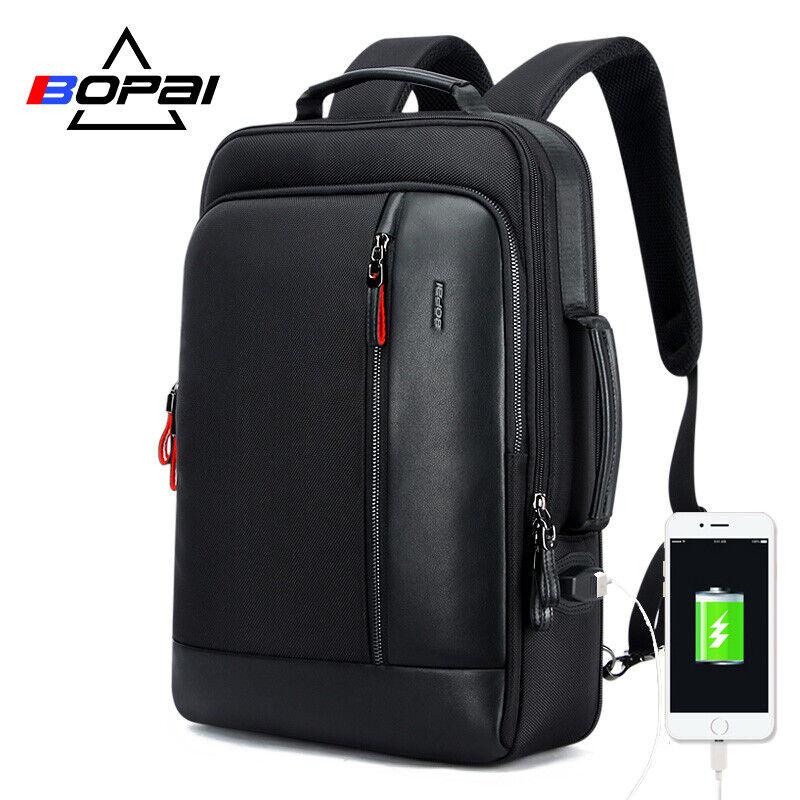 bopai usb charge bagpack men black leather