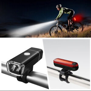 LED Rechargeable Bicycle Headlight Front Light+Rear Light Bike