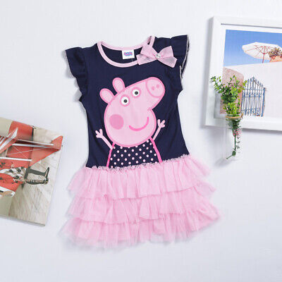 Kinder Mädchen Peppa Wutz Party Tunika Tutu  Kleid Kurzarm T-shirt Gr. 92-122 ()