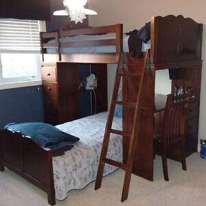 twin bunk bed unit with built in desk