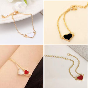 Bracelet-c-ur-pour-femme-en-alliage-039-039-Rouge-amp-Blanc-039-039