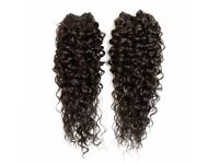 "Kinky Curly Afro Hair Extensions Weave - 22"" - #1 Black"
