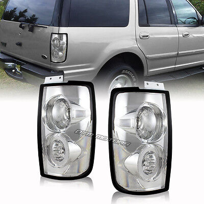 Euro Style Chrome Housing Clear Lens Tail Light Lamps For 97-02 Ford Expedition
