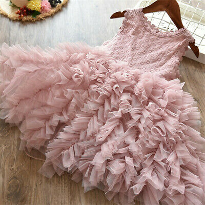 Flower Girl Clothes (Lace Flower Girl Dress Kids Party Princess Birthday Party Tutu Clothes Size)
