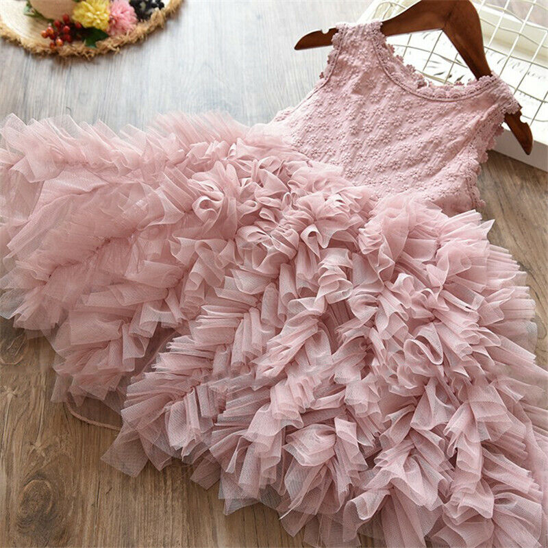 Lace Flower Girl Dress Kids Party Princess Birthday Party Tu