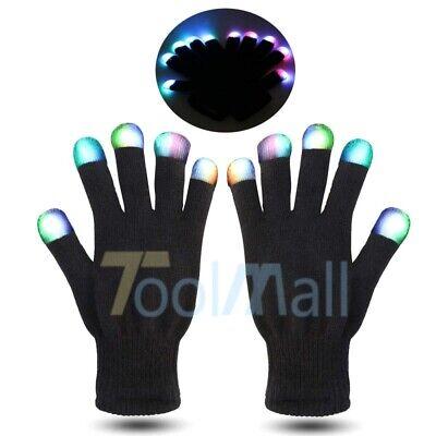 LED Rave Flashing Gloves Glow 7 Mode Light Up Finger Tip Lighting Pair Black NEW](Light Finger Gloves)