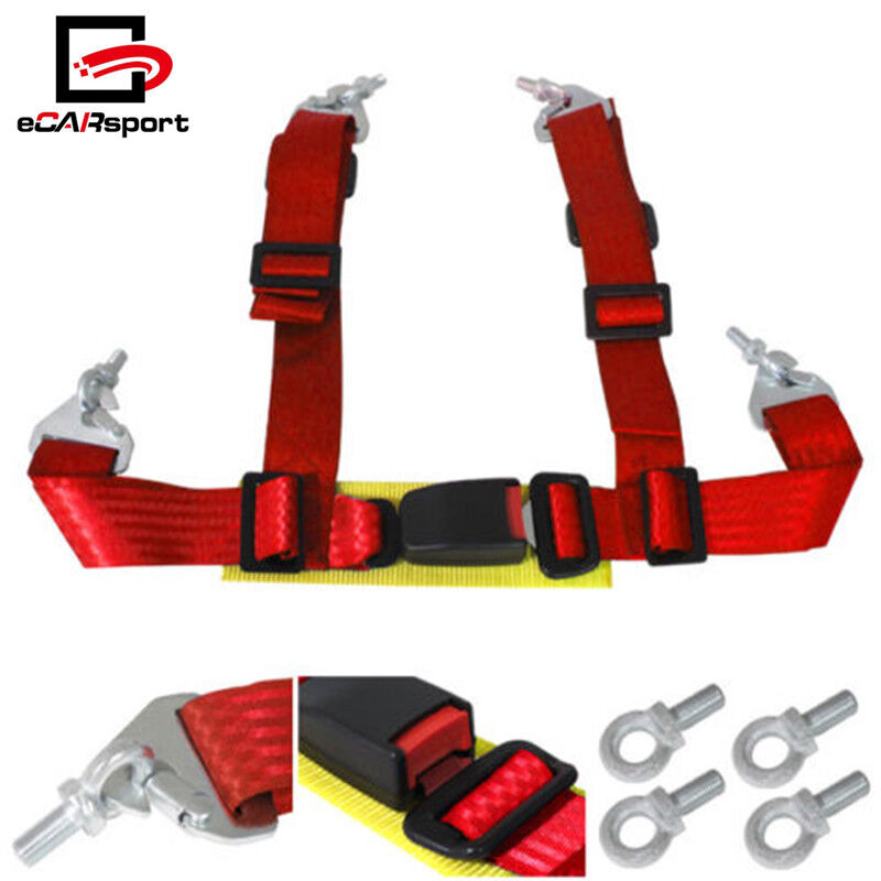 """4 Point 2/"""" Harness Racing Red Seat Belt Pair Buckle Universal Strap Seatbelt"""