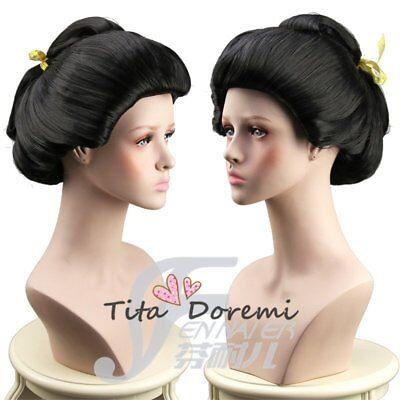 Halloween Wig Costume Japan Geisha Black Short Cosplay Heat Resistant - Geisha Halloween Hair