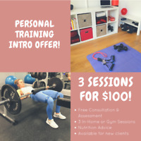 Personal Training Promotion- 3 sessions for only $100!