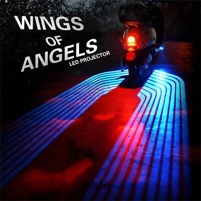 2Pcs LED Angel Wings Projector Welcome Courtesy Lights Kit For Motorcycles Motor