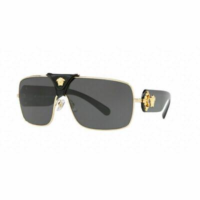 Authentic Versace Squared Baroque Sunglasses VE2207Q 100287 Gold Grey Lens 38mm