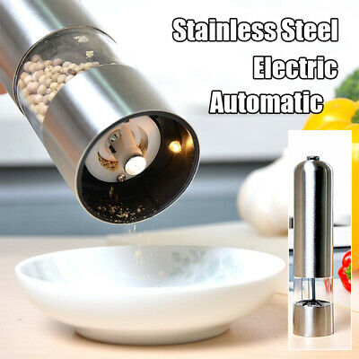 Electric Salt Pepper Mill Stainless Steel Salt Pepper Grinder with Automatic LED