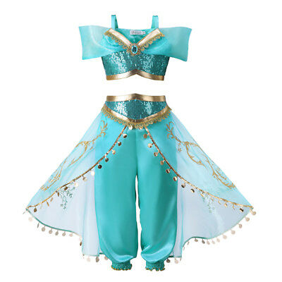 Halloween Princess Jasmine Costume (Kids Aladdin Costume Princess Jasmine Cosplay Outfit Girls Halloween Fancy)