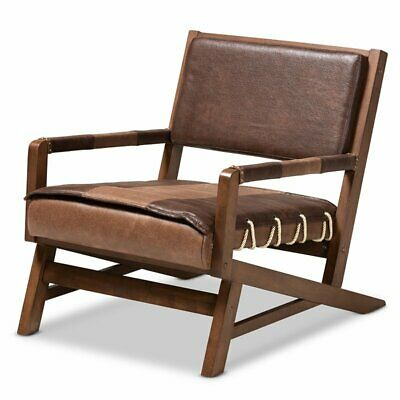 Baxton Studio Rovelyn Brown Faux Leather Walnut Wood Lounge