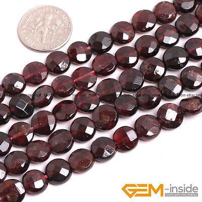 Natural Gemstone Coin Smooth&Faceted Garnet Beads For Jewelry Making Strand 15