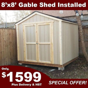Special: 8'x8' All Wooden Gable Shed w/ Floor & Installation