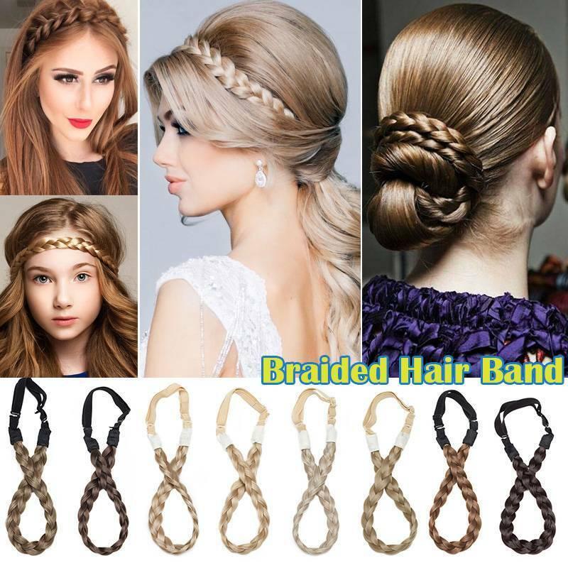 Lady Girls Braided French Hair Plaited Plait Elastic Headband Hairband Adjust US