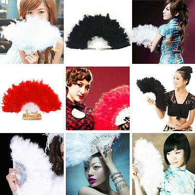 Soft Fluffy Lady Dancing Feather Fan Burlesque Wedding Hand Fancy Dress C jjvv