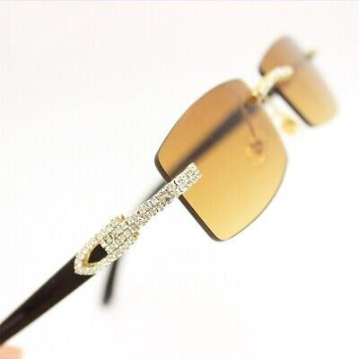 For Men's Sunglasses Brown Lens Rhinestone Crystal Buffs Rimless Frame Women (Clear Frame Sunglasses For Men)